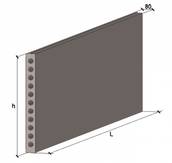 Плита многопустотная стеновая ПСН 21.12-ВРII 2080х1196х120мм