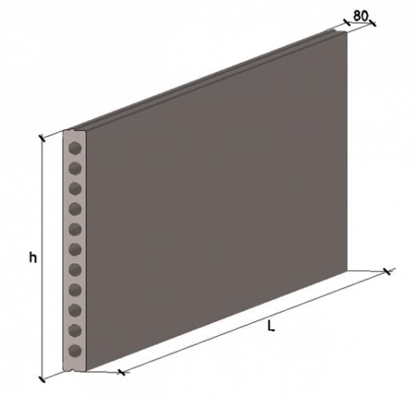 Плита многопустотная стеновая ПСВ 70.12-ВРII 6980х1196х80мм