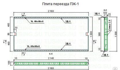 Плита переезда П 1-2 ГОСТ 25912.1-91