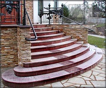 Плитка гранитная, ступени, лестници
