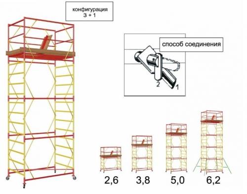 Подмости мобильные Атлант. Рабочая площадка 1,6х0,8 м.Рабочая высота подмостей от 3,6 м до 7,2 м.
