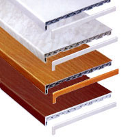 Подоконник пластиковый Openteck, ширина от 100 до 700мм, цвет - белый, мрамор, золотой дуб, махагон.