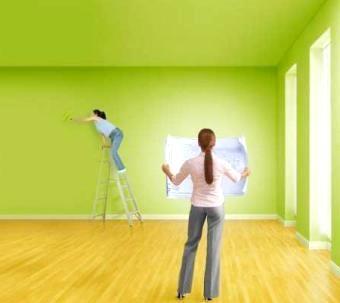 Покраска в/э краской потолков и стен