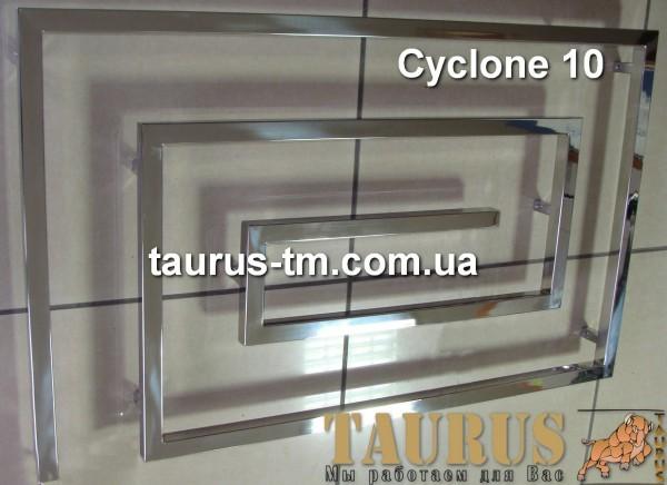 Полотенцесушитель змеевик Cyclone 10 нержавеющий. Ширина 1300 мм. Комплектация электротэном. Доставка.