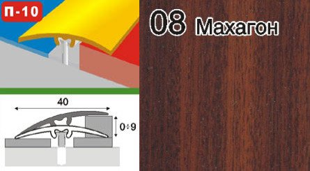 Фото  1 Пороги для пола скрытого крепления алюминиевые ламинированные П-10 40мм махагон 0,9м 2134850