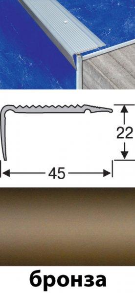 Фото  1 Порожки напольные разноуровневые алюминиевые анодированные 45х22 бронза 2,7м 2134729