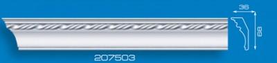 Потолочный плинтус 207503. Высококачественные плинтуса из вспененного полистирола. Длина 200 см. Цена за штуку.