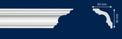 Потолочный плинтус K-60. Высококачественные плинтуса из вспененного полистирола. Длина 200 см. Цена за штуку.