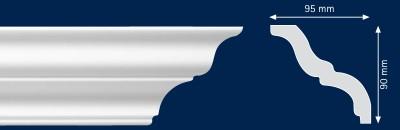 Потолочный плинтус MT. Высококачественные плинтуса из вспененного полистирола. Длина 200 см. Цена за штуку.