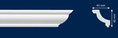 Потолочный плинтус O-45. Высококачественные плинтуса из вспененного полистирола. Длина 200 см. Цена за штуку.