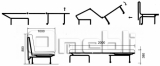 Принт Аккордеон диван Ткань Монтана шоко A32100