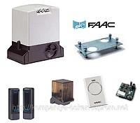 Привод FAAC 741 для откатных ворот. В комплекте - привод, 4 м. рейки, 2 пульта ДУ, фотоэлементы, сигн. лампа, приёмник.