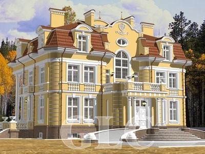 Проект Avalon площадью 800 кв. м. Загородная резиденция в стиле современного неоклассицизма.