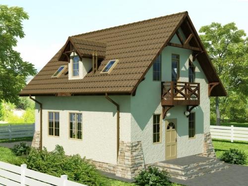 Проект Гектор 95 м. кв. Два этажа: 2 Ванные, 2 Коридора, Гостинная, Кухня, 3 Спальни, Гардероб