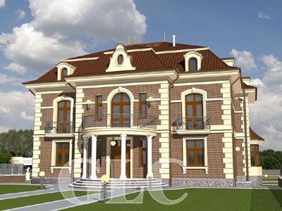 Проект Rotonda площадью 700 кв. м. Элегантный загородный особняк в стиле неоклассицизма.
