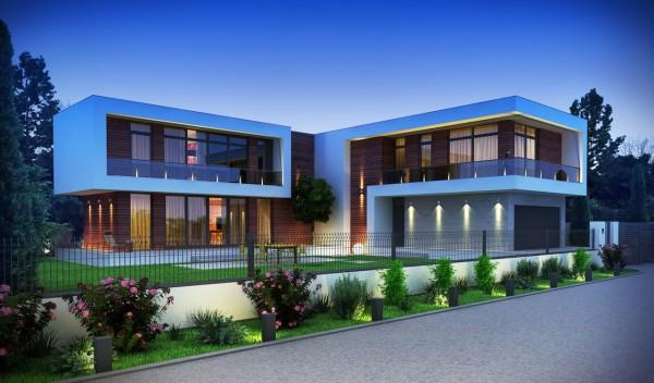 Проект современного двухэтажного дома с плоской крышей от Sboev3 Architect