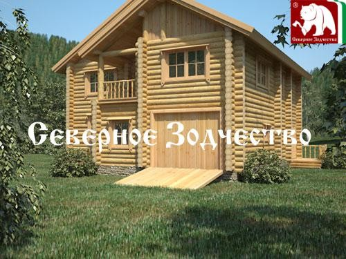 Проект сруба 3-101. Дом по проекту №3-101 (S=215 кв. м, диаметр бревна 22-24 см, высота потолков 2,8 м) ручной рубки.