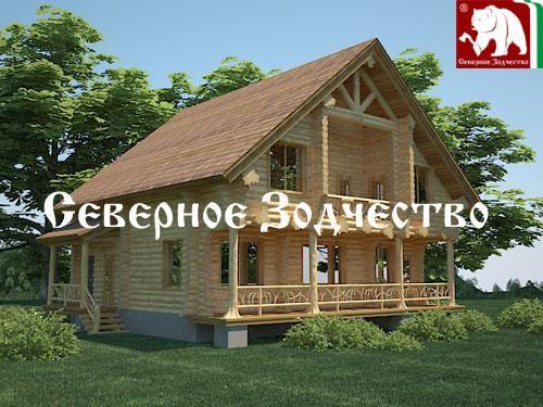 Проект сруба 3-107. Дом по проекту №3-107 (S=275 кв. м, диаметр бревна 22-24 см, высота потолков 2,8 м) ручной рубки.