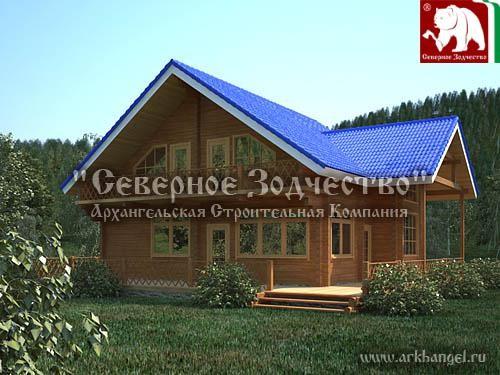 Проект сруба 3-121. Дом по проекту №3-121 (S=186 кв. м, диаметр бревна 22-24 см, высота потолков 2,8 м) ручной рубки.