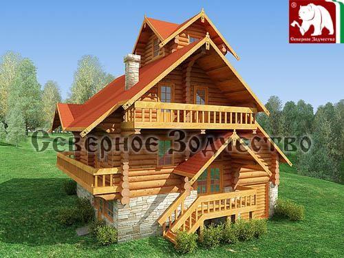 Проект сруба 3-123. Дом по проекту №3-123 (S=169 кв. м, диаметр бревна 22-24 см, высота потолков 2,8 м) ручной рубки.