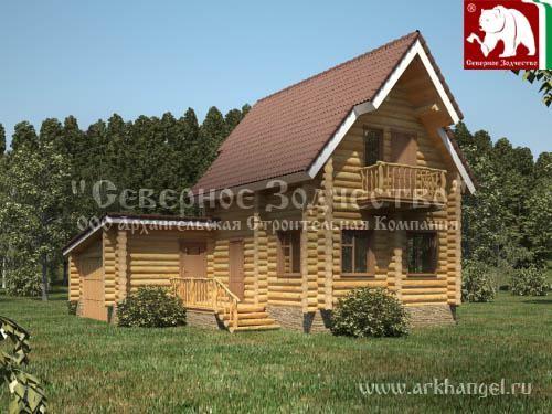 Проект сруба 3-127. Дом по проекту №3-127 (S=74 кв. м, диаметр бревна 22-24 см, высота потолков 2,8 м) ручной рубки.