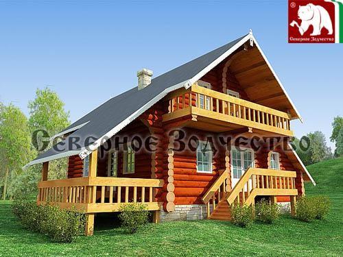 Проект сруба 3-134. Дом по проекту №3-134 (S=157 кв. м, диаметр бревна 22-24 см, высота потолков 2,8 м) ручной рубки.