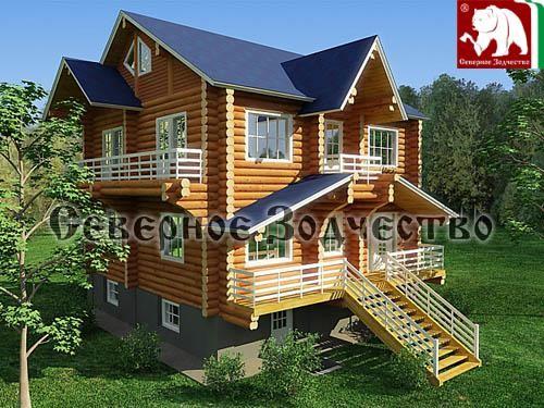 Проект сруба 3-136. Дом по проекту №3-136 (S=162 кв. м, диаметр бревна 22-24 см, высота потолков 2,8 м) ручной рубки.