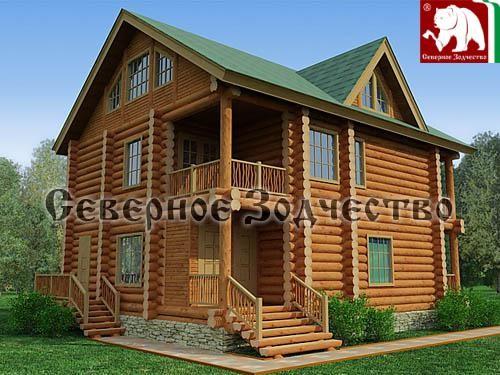 Проект сруба 3-140. Дом по проекту №3-140 (S=243 кв. м, диаметр бревна 22-24 см, высота потолков 2,8 м) ручной рубки.