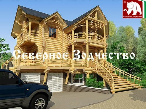 Проект сруба 3-140. Дом по проекту №3-140 (S=243 кв. м, диаметр бревна 22-24 см, высота потолка 2,8 м) ручной рубки.