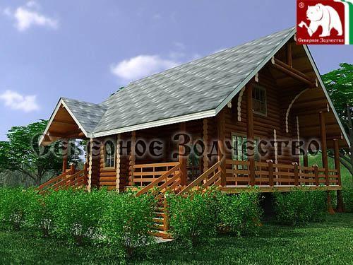 Проект сруба 3-158. Дом по проекту №3-158(S=153 кв. м, диаметр бревна 22-24 см, высота потолка 2,8 м) ручной рубки.