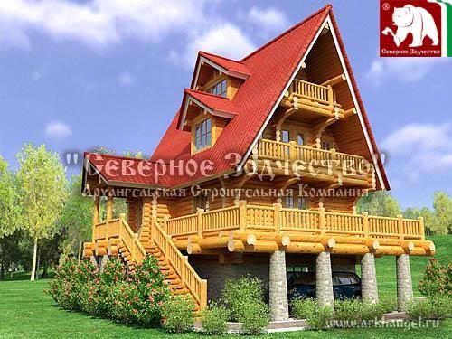 Проект сруба 3-165. Дом по проекту №3-165(S=155 кв. м, диаметр бревна 22-24 см, высота потолка 2,8 м) ручной рубки.