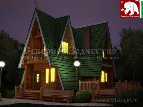 Проект сруба 3-171. Дом по проекту №3-171 (S=102 кв. м, диаметр бревна 22-24 см, высота потолков 2,8 м) ручной рубки.