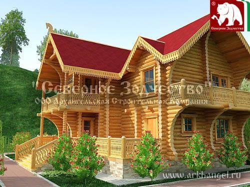 Проект сруба 3-181. Дом по проекту №3-181 (S=272 кв. м, диаметр бревна 22-24 см, высота потолков 2,8 м) ручной рубки.