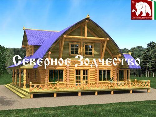 Проект сруба 3-41. Дом по проекту №3-41 (S=218 кв. м, диаметр бревна 22-24 см, высота потолков 2,8 м) ручной рубки.