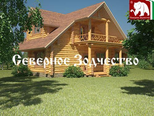 Проект сруба 3-44. Дом по проекту №3-44 (S=186 кв. м, диаметр бревна 22-24 см, высота потолков 2,8 м) ручной рубки.