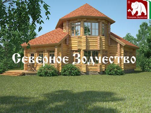 Проект сруба 3-56. Дом по проекту №3-56 (S=110 кв. м, диаметр бревна 22-24 см, высота потолков 2,8 м) ручной рубки.