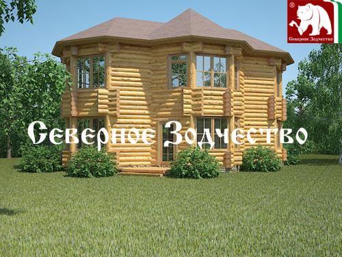 Проект сруба 3-60. Дом по проекту №3-60 (S=145 кв. м, диаметр бревна 22-24 см, высота потолков 2,8 м) ручной рубки.