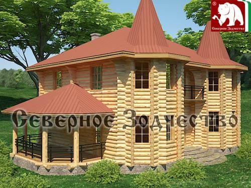 Проект сруба 3-97. Дом по проекту №3-97 (S=256 кв. м, диаметр бревна 22-24 см, высота потолков 2,8 м) ручной рубки.