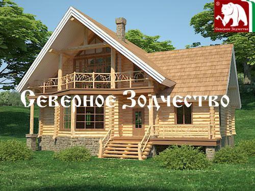 Проект сруба 3-99. Дом по проекту №3-99 (S=296 кв. м, диаметр бревна 22-24 см, высота потолков 2,8 м) ручной рубки.