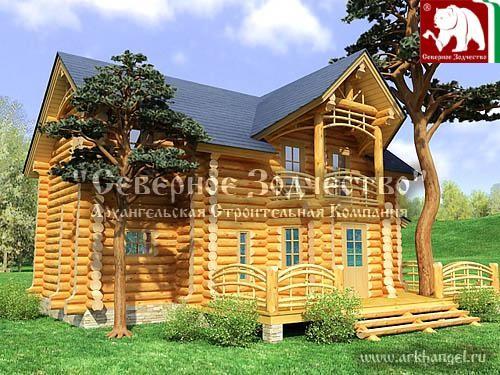 Проект сруба бани 1-07. Дом по проекту №1-07 (S=107 кв. м, диаметр бревна 22-24 см, высота потолков 2,8 м) ручной рубки.