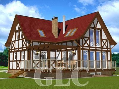 Проект жилого дома Retro площадью 206 кв. м. Небольшой домик для отдыха, выполненный в стиле средневекового романтизма.