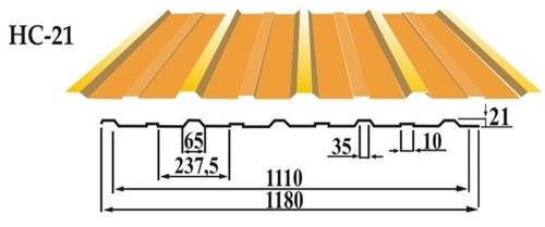 Профильный лист настила НС-21 кровельно - стеновой профнастил
