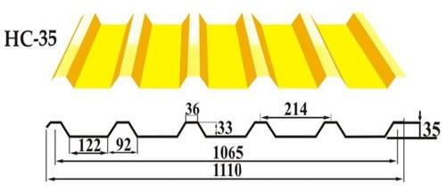 Профильный лист НС-35 кровельно - стеновой профнастил