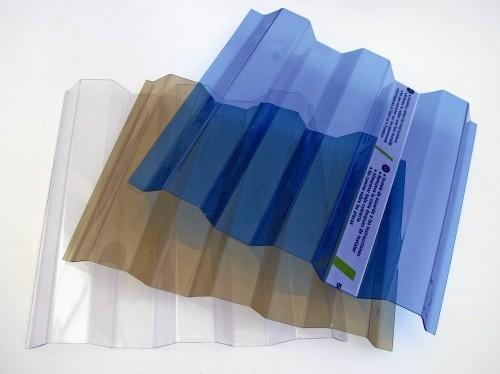 Профилированный монолитный поликарбонат SUNTUF. Волна 76 мм, высота 16ммРазмер:1260мм* 2440мм, другие размеры. Синий