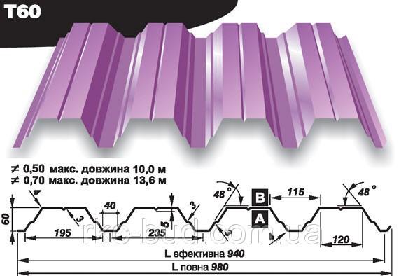 Профилированный настил кровельный Прушински Т60 цинк толщина 0.70