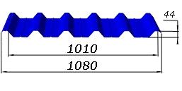Профнастил кровельный окрашенный Н-44 0,43
