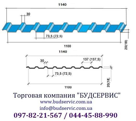 Профнастил кровельный ПК-20 0,45 Глянец, Украина (МиП). Уместен разумный торг!