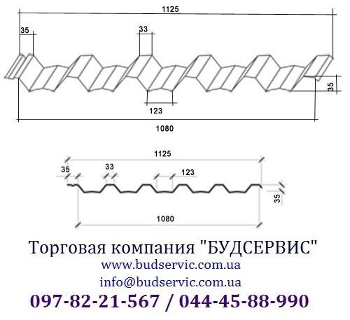 Профнастил кровельный ПК-35 0,45 Глянец, Украина (МиП). Уместен разумный торг!
