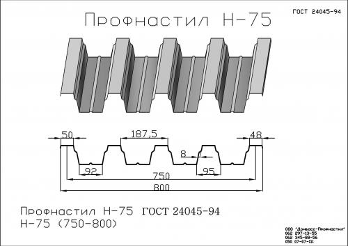 Профнастил Н-75 (промышленный профнастил)