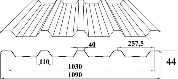 Профнастил НС-44 (Н-44, ПК-44) оц (цинк, ZN)